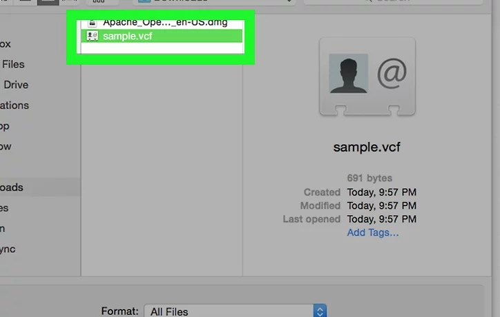 how to open vcf file in gmail